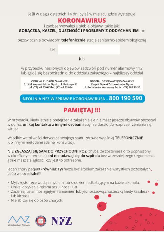 Informacja o postępowaniu w przypadku objawów koronowirusa