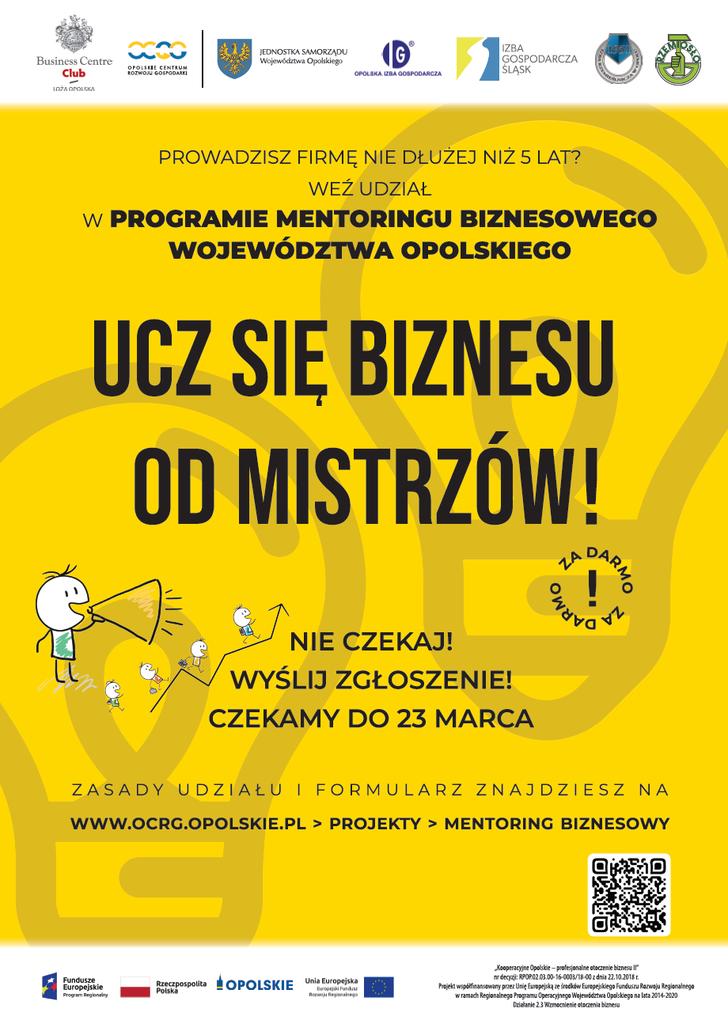 Prowadzisz firmę nie dłużej niż 5 lat? Weź udział w Programie Mentoringu Biznesowego Województwa Opolskiego. Ucz się biznesu od mistrzów. Na zgłoszenie czekamy do 23 marca.