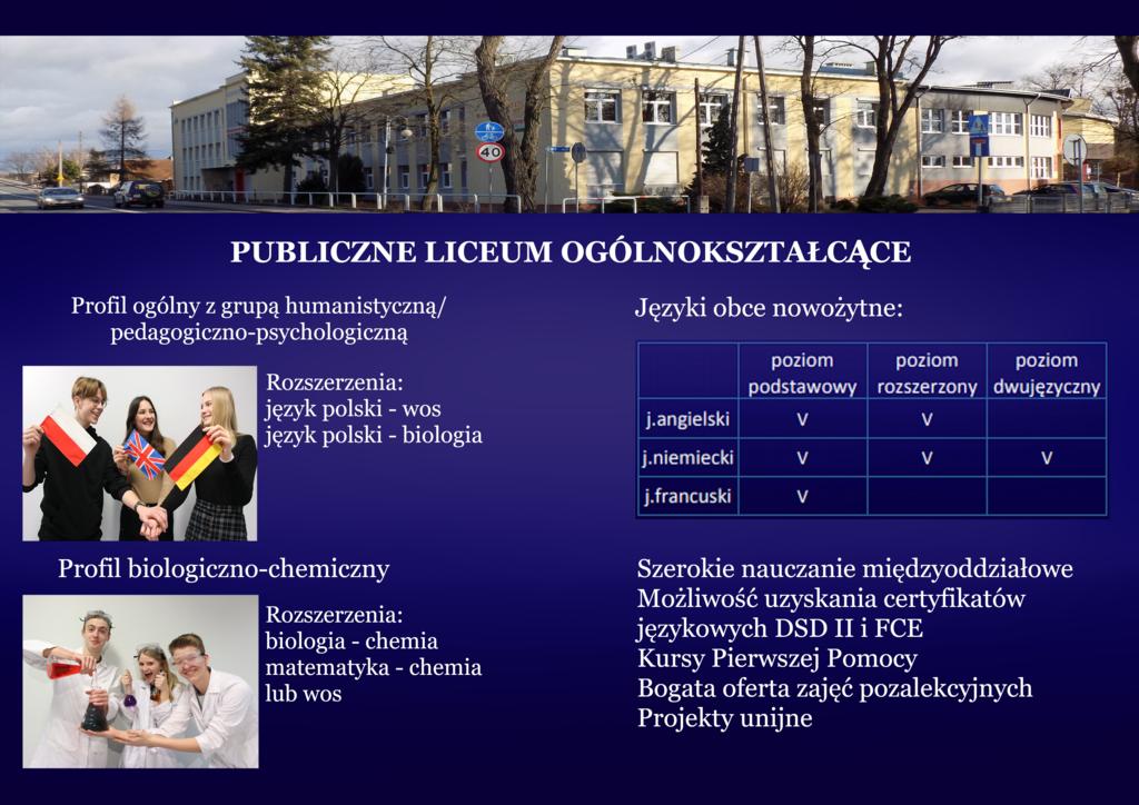 Publiczne Liceum Ogólnokształcące, opis klas, rozszerzeń, profili