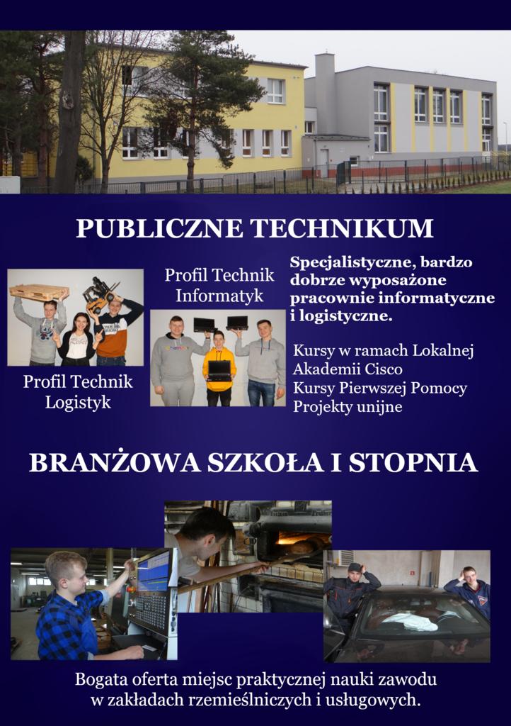 Publiczne technikum, profil technik informatyk, dobrze wyposażone pracownie, profil technik logistyk, Branżowa szkoła I stopnia, bogata oferta miejsc praktycznej nauki zawodu