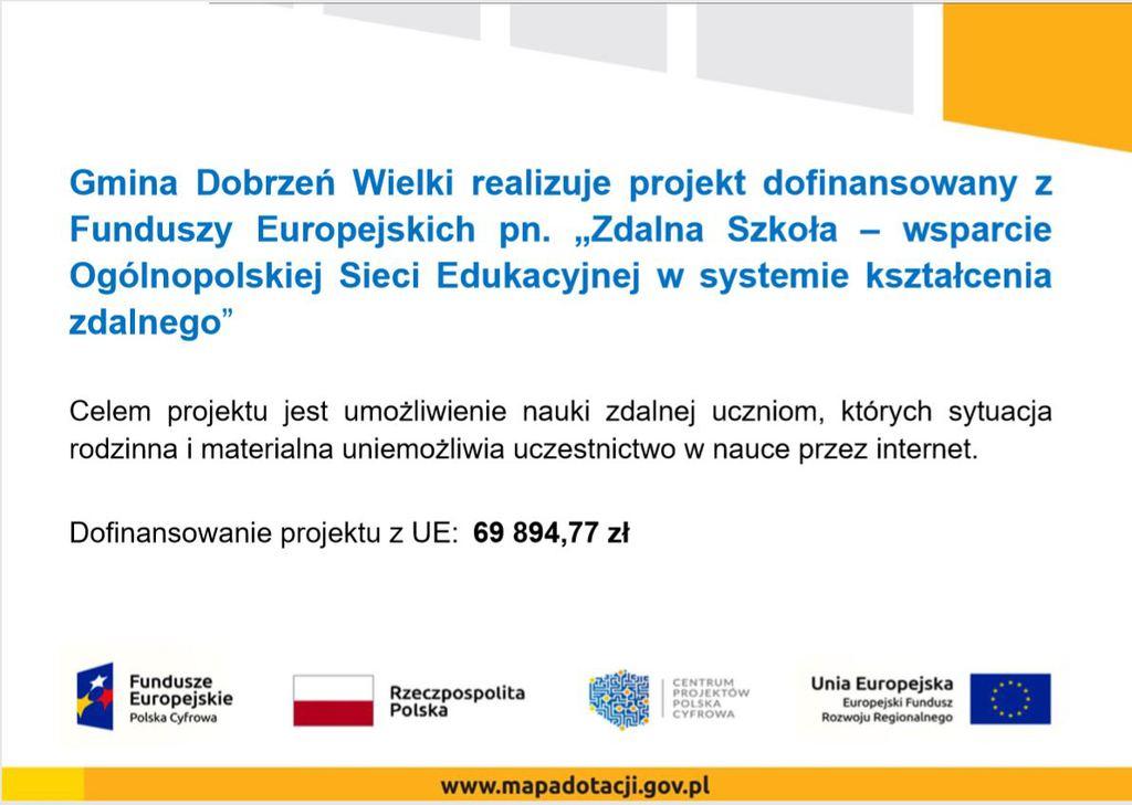 """Gmina Dobrzeń Wielki realizuje projekt dofinansowany z Funduszy Europejskich pn. """"Zdalna Szkoła – wsparcie Ogólnopolskiej Sieci Edukacyjnej w systemie kształcenia zdalnego"""""""