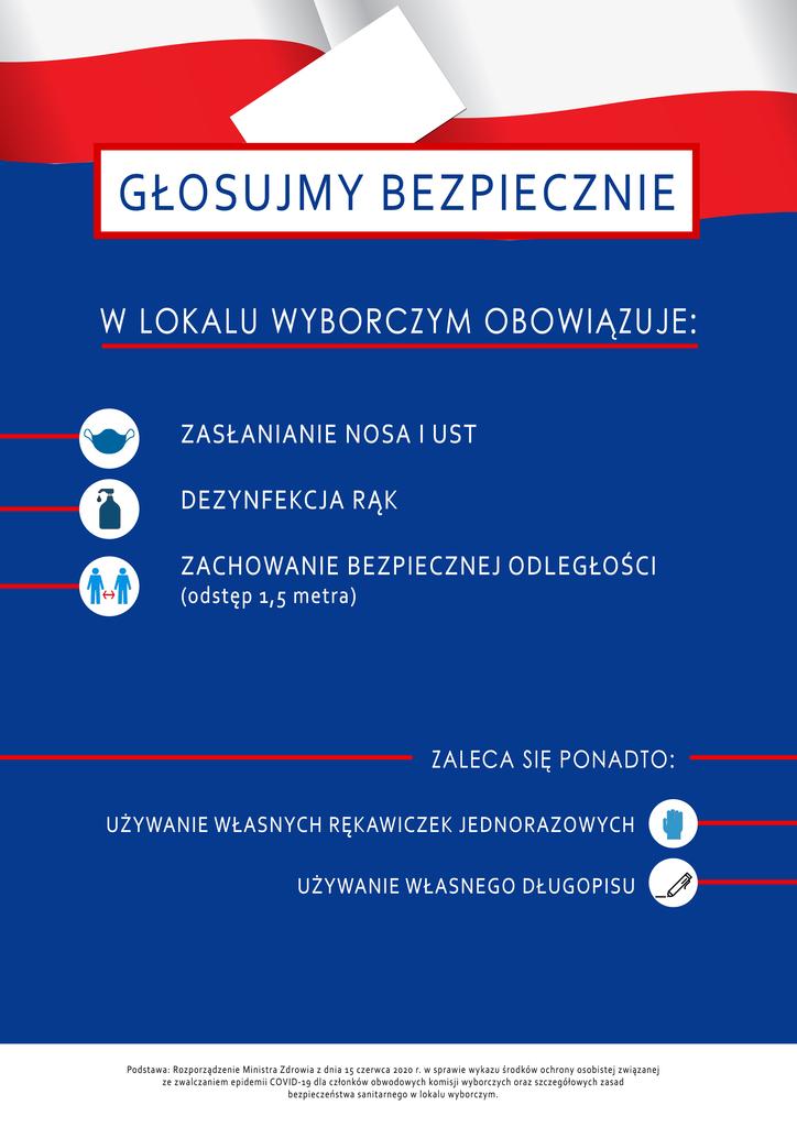 Głosujmy bezpiecznie, w lokalu wyborczym obowiązuje zasłanianie nosa i ust, dezynfekcja rąk oraz zachowanie bezpiecznej odległości