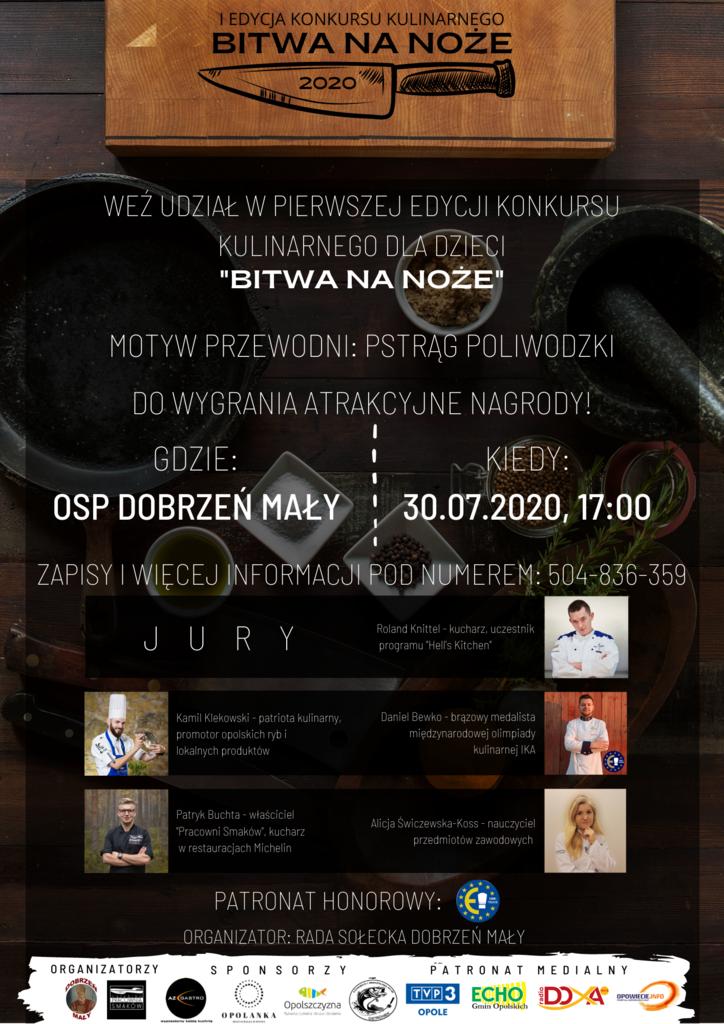 """konkurs kulinarny dla dzieci """"Bitwa na noże"""", motyw przewodni pstrąg poliwodzki, do wygrania atrakcyjne nagrody, zapraszamy do OSP w Dobrzeniu Małym w dniu 30.07.2020r. godzina 17:00, zapisy pod numerem tel. 504836359"""