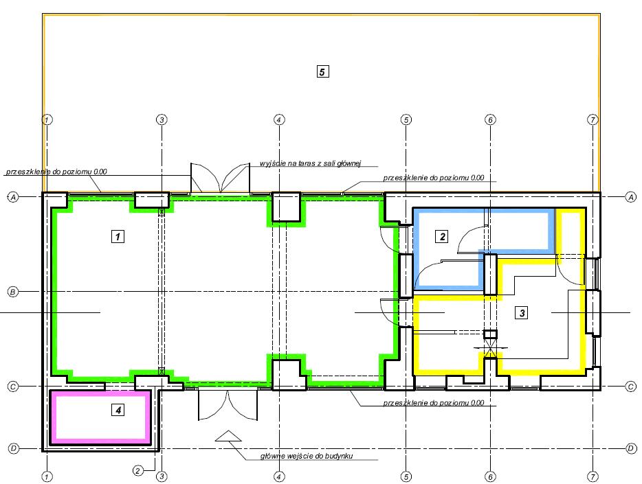 Założenia funkcjonalna budynku świetlicy wiejskiej - rzut przyziemia