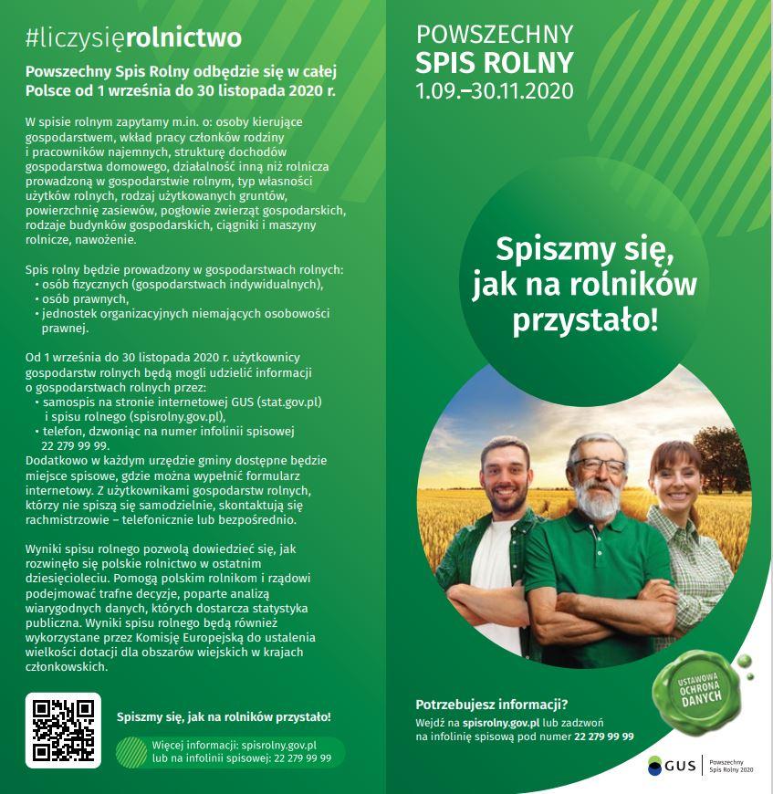 ulotka - Powszechny Spis Rolny 1.09.-30.11.2020, Spiszmy się jak na rolników przystało! Potrzebujesz informacji wejdź na spisrolny.gov.pl lub zadzwoń 22 279 99 99. Informacja kogo dotyczy spis rolny i jakie pytania zawiera.