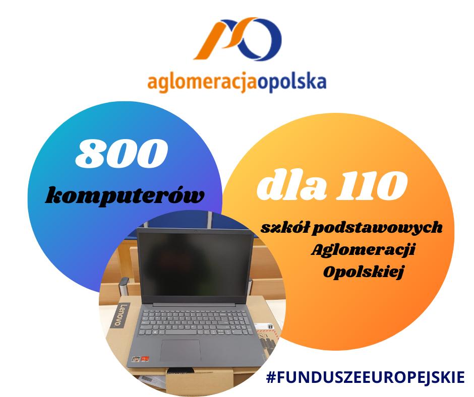 logo Aglomeracji Opolskiej, napis 800 komputerów dla 110 szkół podstawowych Aglomeracji Opolskiej