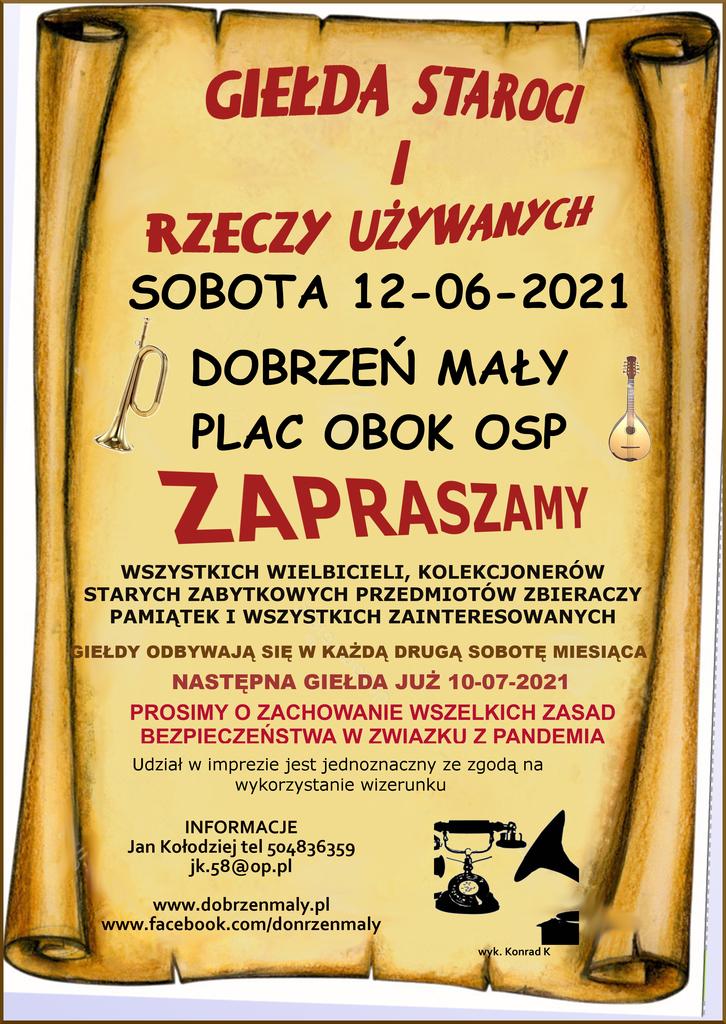 plakat informujący o Giełdzie staroci i rzeczy używanych, która odbędzie się w sobotę 12 czerwca 2021r. na placu obok OSP w Dobrzeniu Małym