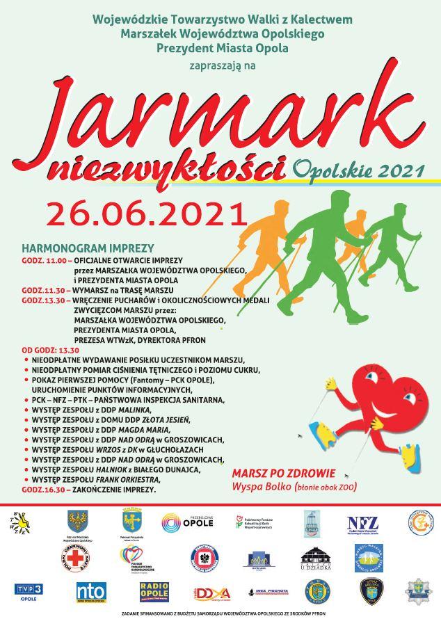 plakat informujący o jarmarku Niezwykłości Opolskie 2021, który odbędzie się 26.06.2021r.na wyspie Bolko w Opolu