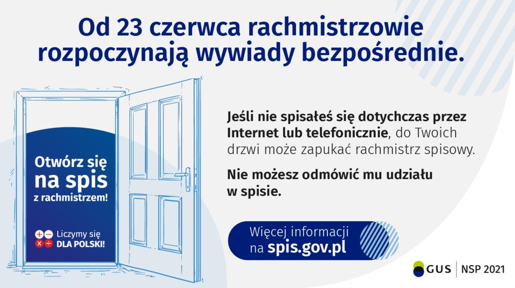 Od 23 czerwca rachmistrzowie rozpoczynają wywiady bezpośrednie. jeśli nie spisałeś się dotychczas przez internet lub telefonicznie, do Twoich drzwi może zapukać rachmistrz spisowy. Nie możesz odmówić mu udziału w spisie.