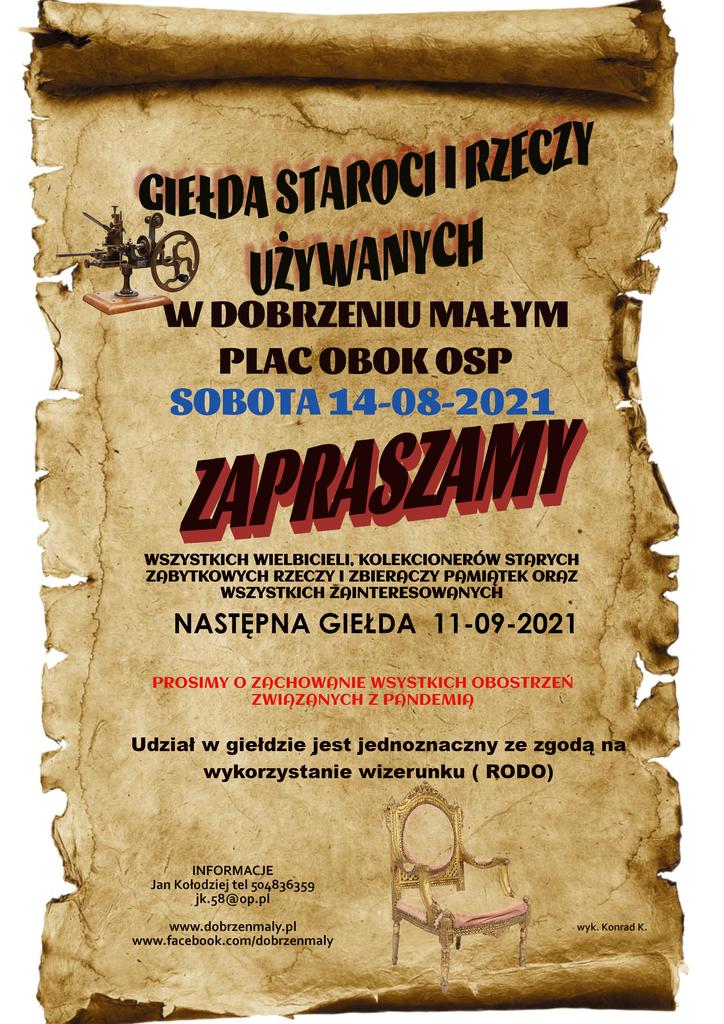 plakat promujący giełdę staroci i rzeczy używanych, która odbędzie się w Dobrzeniu Małym na placu obok OSP w dniu 14.08.2021r.