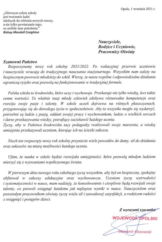 List Wojewody Opolskiego z okazji rozpoczęcia roku szkolnego 2021/2022.