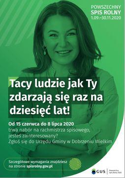 od 15 czerwca do 8 lipca 2020r. trwa nabór na rachmistrza spisowego, jesteś zainteresowany? Zgłoś się do Urzędu Gminy w Dobrzeniu Wielkim. szczegółowe wymagania na stronie spisrolny.gov.pl