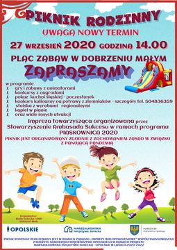 Piknik rodzinny 27 września 2020 godzina 14.00 plac zabaw w Dobrzeniu Małym Zapraszamy Impreza towarzysząca organizowana przez Stowarzyszenie ambasada Sukcesu w ramach programu Piaskownica 2020