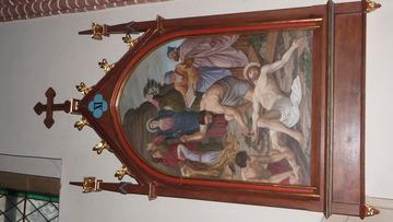 Stacja Drogi Krzyżowej nr XI Pan Jezus przybity do krzyża.