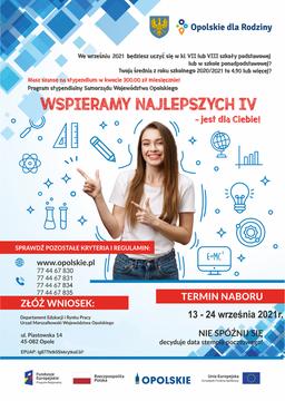 Plakat z informacją o stypendiach dla uczniów